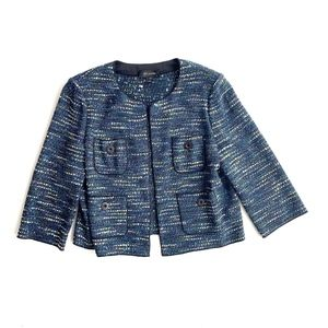 St. John Tweed Blazer Open Front Jacket Cardigan
